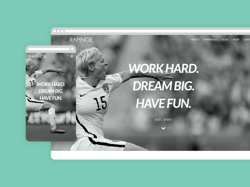 Rapinoe US Website Homepage layout ecommerce design ecommerce shop ecommerce ui ux branding rapinoe futbol soccer webdesign web