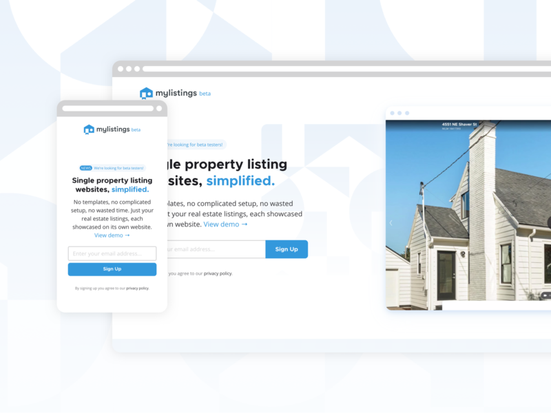 mylistings updated landing page + beta! service realty real estate ux web app product saas landing page branding saas