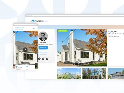 mylistings property + profile demo service real estate realty product design saas demo saas app web app ui ux branding