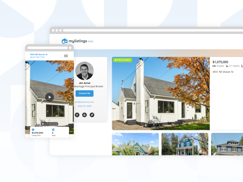 mylistings property + profile demo service real estate realty product design saas demo saas app web app ui ux branding