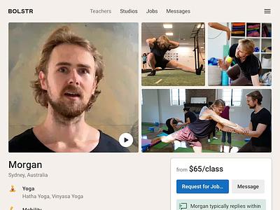 Bolstr · Teacher Detail product design yoga profile page pdp profile