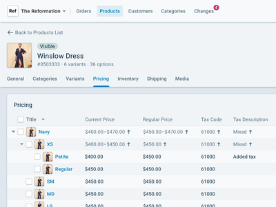 Reaction Commerce · Products Detail enterprise products tree table detail ecommerce product design