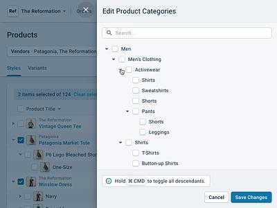 Reaction Commerce · Edit Categories web ecommerce enterprise desktop bulk action checkbox product design
