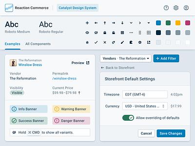 Reaction Commerce · Design System ecommerce icon material material ui desktop roboto ui kit design system web enterprise product design