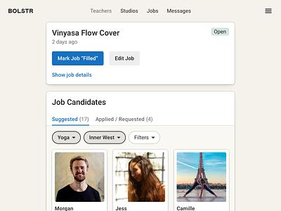 Bolstr · Job Candidates listing job listing job yoga fitness health web product design