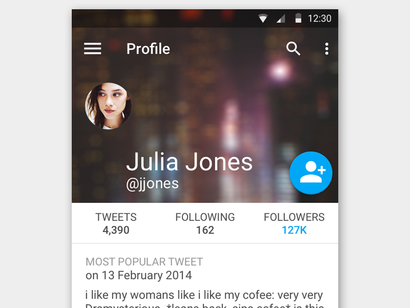 Twitter Profile using Material Design [Free .psd] twitter profile android mobile material design