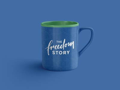 The Freedom Story Mug human trafficking charity vector logo branding typography colorful nonprofit design custom design minimal design agency