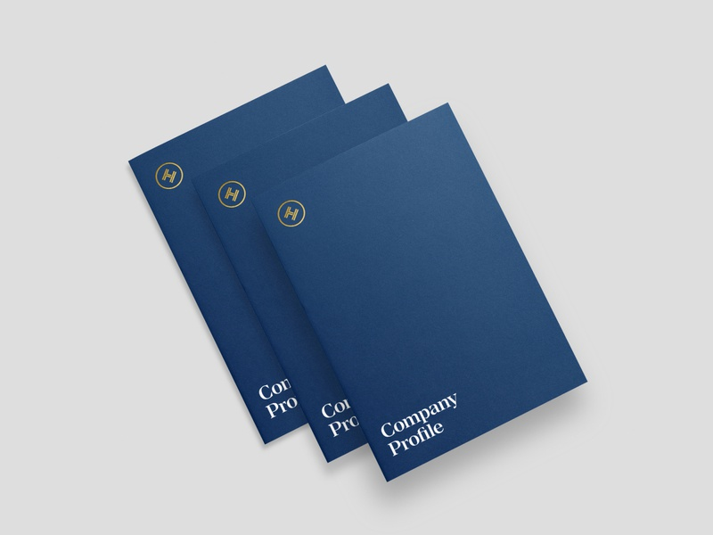 Law Firm Company Profile Packet navy blue navy minimal brand folder design company profile collateral branding ui logo design design agency