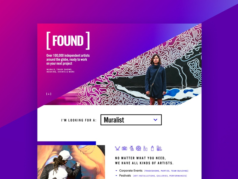 FOUND agency typography ui design agency design bold font colorful bold minimal white purple pink ui  ux design web development company web development web design agency bold color web design web