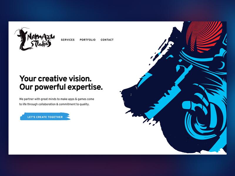 Namazu Studios Website bold whitespace white blue video game game studio brushstroke modern custom design web development design agency web design agency web design website minimal
