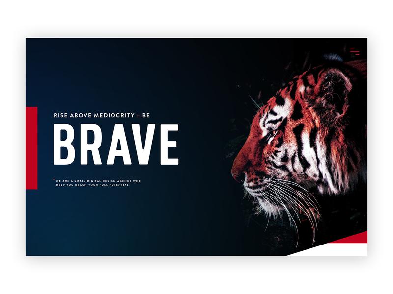 Brave Factor dark background dark blue web layout tiger colorful bold web development typography bold font custom design website design web design agency web design minimal design agency