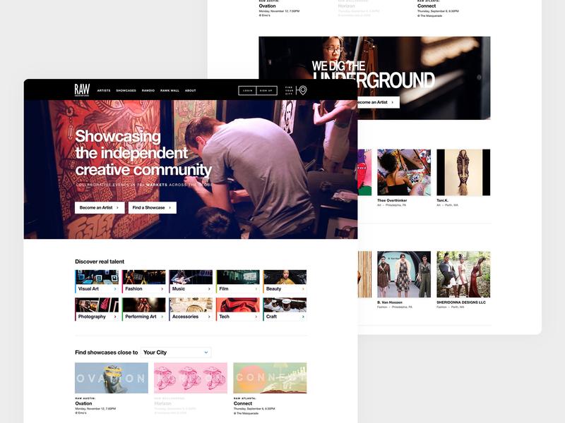 RAW: natural born artists web design organization nonprofit platform design bold font ui website web development web design agency web design minimal design agency