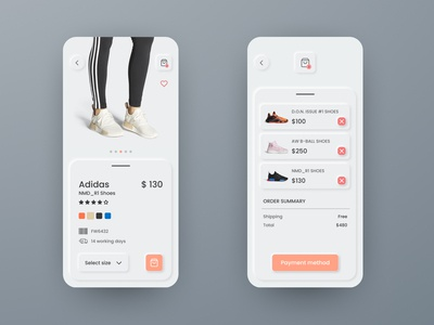 Sneakers app concept as neomorphism