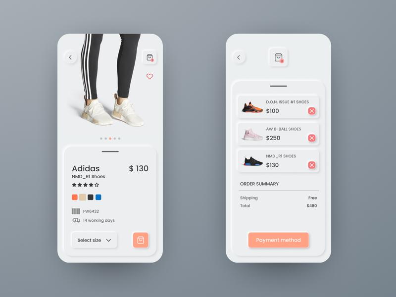 Sneakers app concept as neomorphism