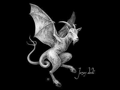 Jersey Devil jersey devil ink pencil vintage dribbbleweeklywarmup usa monster cryptozoology cryptid illustration editorial spooky halloween design halloween