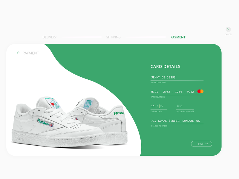 Daily UI #002 - Credit Card Checkout daily ui daily ui 002 daily 100 challenge daily 100 shoe store credit card payment checkout website web design user experience user interface ux ui