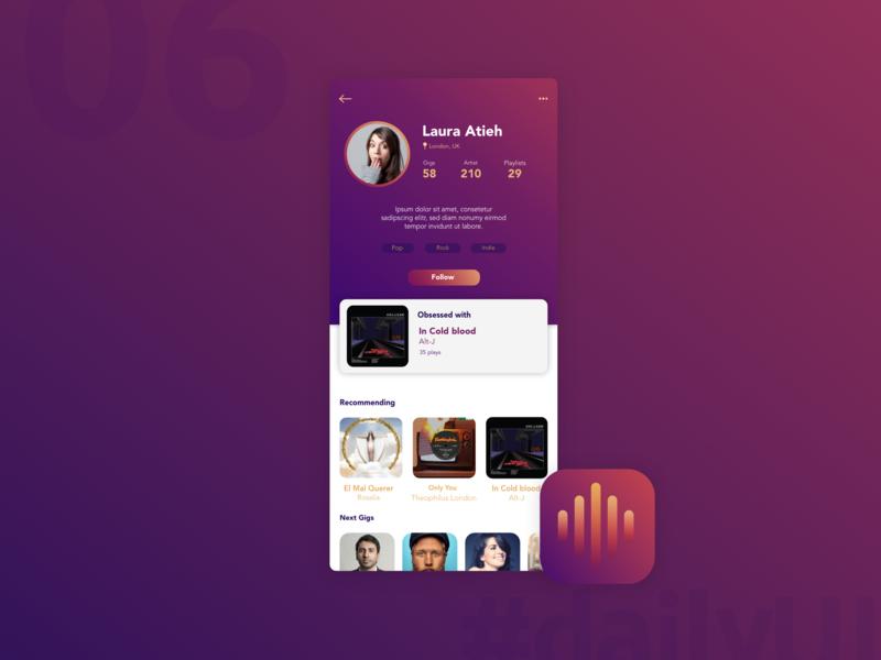 DailyUI 006 - User Profile music app profile user profile daily ui 006 app icon logo app 100 day ui challenge daily 100 challenge 100 day challenge user interface user experience ui