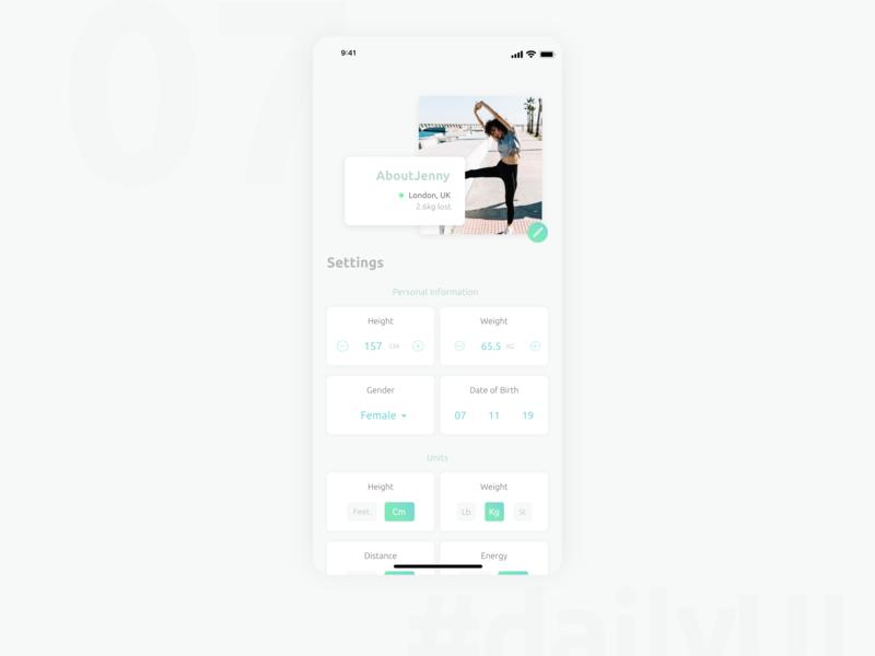 DailyUI 007 - Settings fitness settings daily ui 007 design app 100 day ui challenge daily 100 challenge 100 day challenge user interface user experience ui