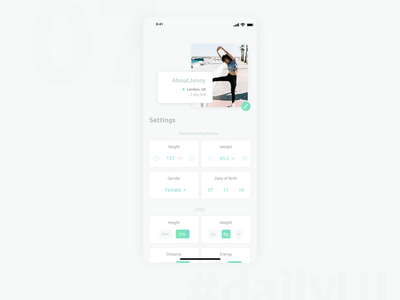 DailyUI 007 - Settings fitness settings daily ui 007 design app 100 day ui challenge daily 100 challenge 100 day challenge user interface user experience ui
