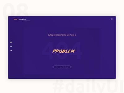 DailyUI 008 - 404 Page daily ui 008 purple problem page 404 error 404 error page 404 page 404 blog design web design design 100 day ui challenge daily 100 challenge 100 day challenge user interface user experience ui