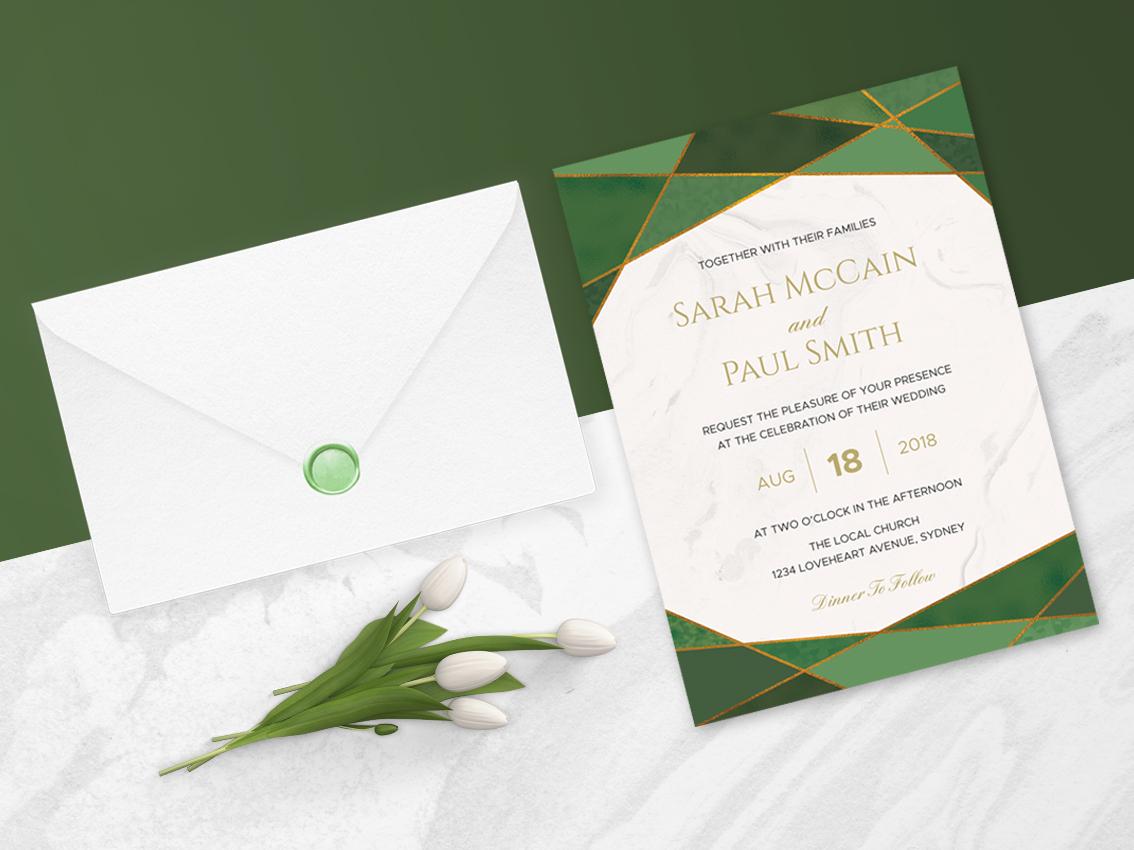 Green Emerald Wedding Invitation By Nicolas Fernandez On