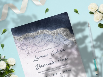 Elegant Blue Wedding Invitation