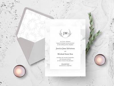 White Elegance Wedding Invitation