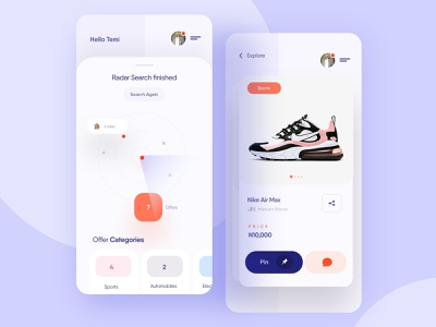 Spot, pin and buy items near you - Mobile App Design clean online marketplace sell buy spot pin product app illustration mobile ecommerce graphics uidesign ux ui