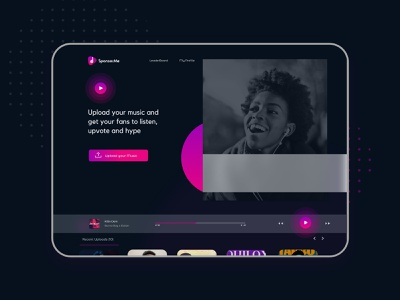 Sponsorme - A web platform for musicians clean landingpage images web artists music dark app dark theme dark ui dark mode ui design ux ui