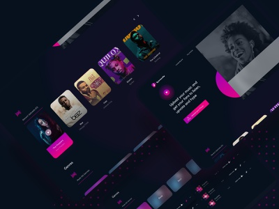 Upload your music and get your fans to listen, vote and hype artists hype vote music neat platform app web design dark ui dark ui design uiux ui
