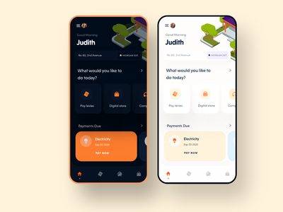 Estatify (Dark + light mode) mobile mobile app design dark ui app clean ux ui