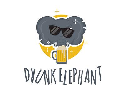 Cute Elephant Mascot Logo by ArsenicDesign mascot creative modern flat drinking beer drunk logodesign mascotlogo elephant logo logo elephant