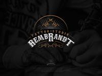 Rembrandt Tattoo studio logo design