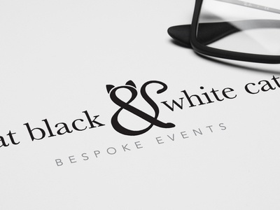 That Black & White Cat Logo cat wedding events logo