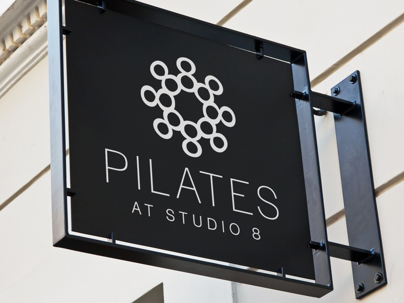 Logo Pilates At Studio 8 fitness club studio brand logo fitness pilates