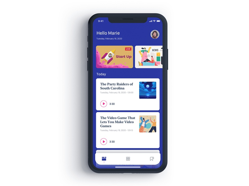 News Podcast flat minimal ux icon typography ios iphone iphone x illustration mobile app design sketch ui mobile podcast news