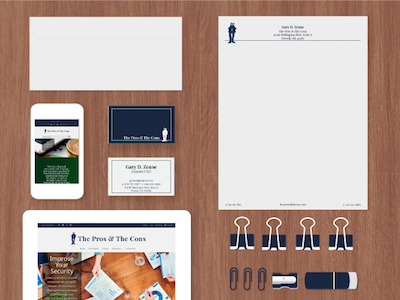 Collateral Material for The Pros & The Cons stationary letterhead business cards branding