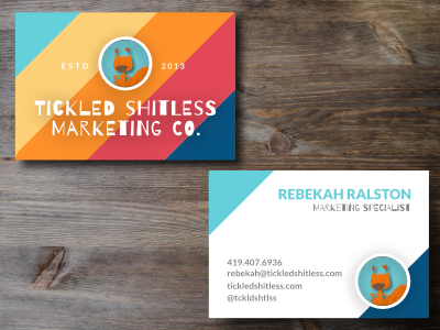 Tickled Shitless Business Cards business card quirky tickledshitless squirrel moo