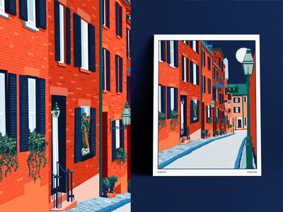 Boston night buildings brick cobblestones street massachusetts boston town city illustration cityscape city illustration