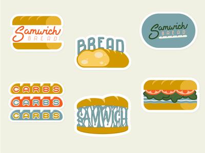 Some Samwich Bread Stickers handlettering typography lettering baguette goey branding logos carbs sandwich stickers bread