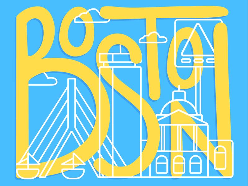 Boston handlettering icons skyline lettering city boston illustration