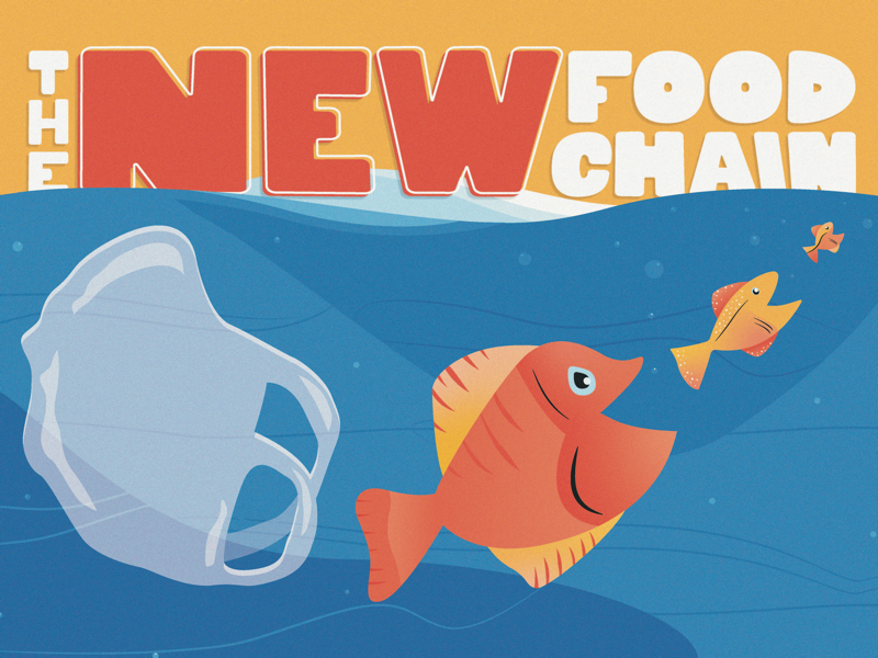The New Food Chain handlettering plastic bag plastic fish conservation ocean illustration