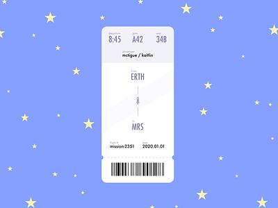 Daily UI Day 24: Boarding Pass star art illustration mobile design app design airline air travel aeroplane train sky stars aerospace space travel ticket boarding pass day24 day024 dailyui