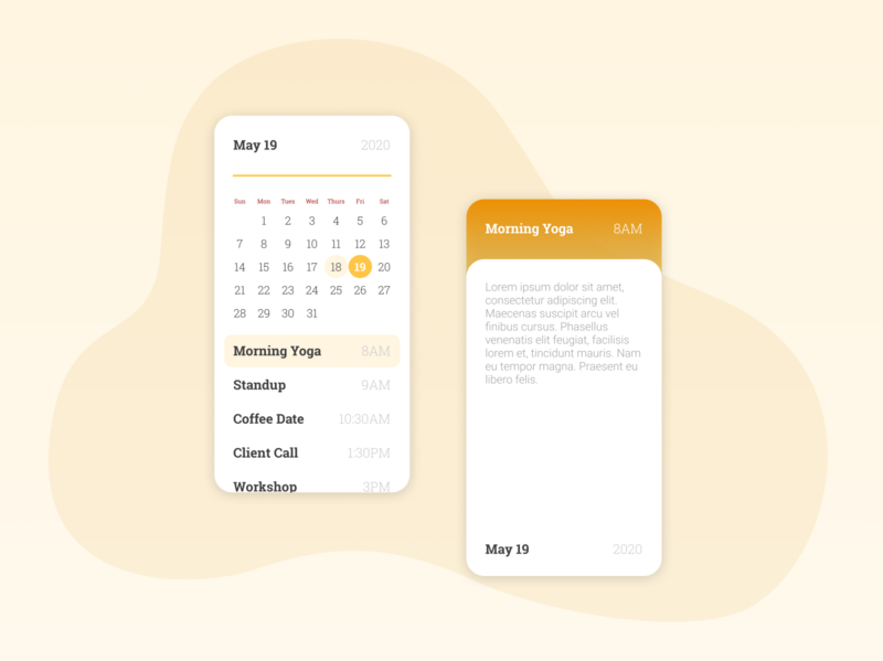 Daily UI Day 38: Calendar