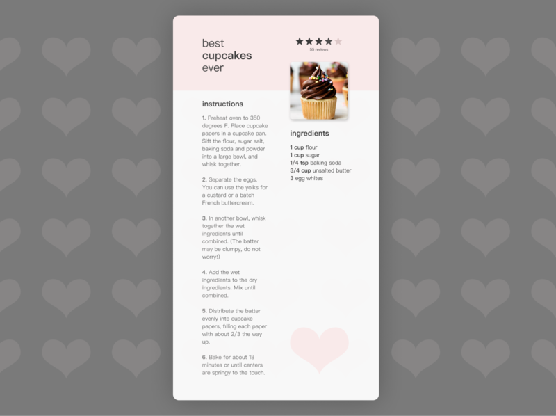 Daily UI Day 40: Recipe restaurant day40 daily ui day040 book illustration art illustration girly pink recipe book recipe card recipe app cupcake typography recipe design dailyui