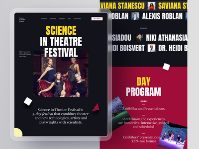 Science in Theatre science theatre event promo landing interface design graphic design type design information logo flat minimal website web ux ui typography interaction interface