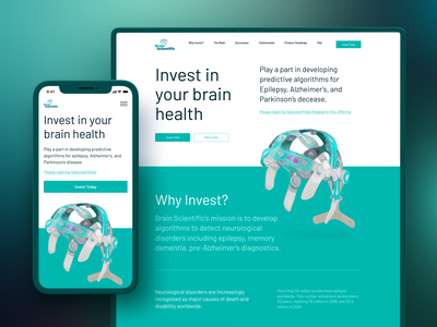 Brain Scientific Website invest meditation landing product design disease energy wellness health design ui ux website brain science mobile app app mobile web app web design webdesign