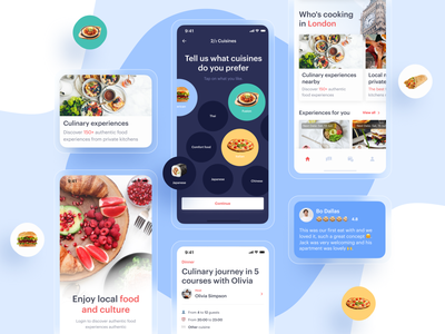 Local Food Experiences App cuisine testimonial sushi italian burger experience local shot design abstract ux fox delivery meal food ui mobile app mobile app application