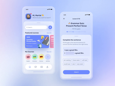 Learning Platform Mobile App ui elements cards ui gradient blur application app design typography course vector app illustration design language ux ui animation mobile