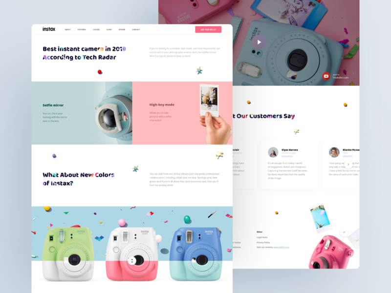 Fujifilm Instax Mini Promo Site branding illustration colors visual blog design design information promo page promo website pattern typography ui ux landing landing page camera photo instax mini instant camera